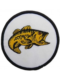 BASS FISHING IRON ON EMBROIDERED FISH PATCH #08