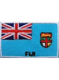 "Fiji Islands Flags ""With Text"" Embroidered Patch"