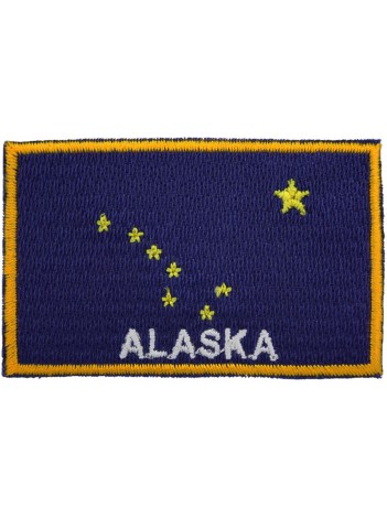 ALASKA FLAG (B) WITH TEXT EMBROIDERED PATCH