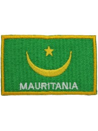 "MAURITANIA FLAG ""With Text"" EMBROIDERED PATCH"