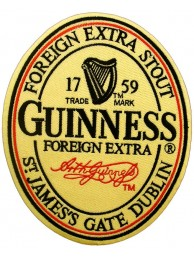 GIANT GUINNESS BEER IRON ON EMBROIDERED PATCH (P)