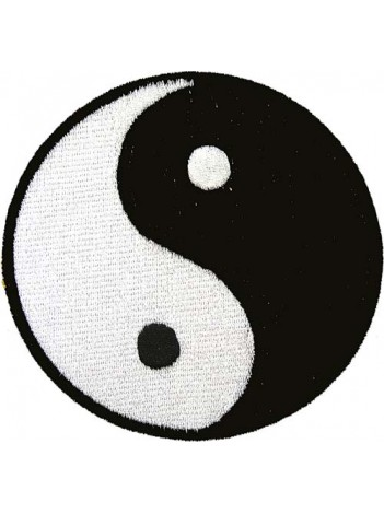 YIN YANG TAIJI IRON ON EMBROIDERED PATCH 3""