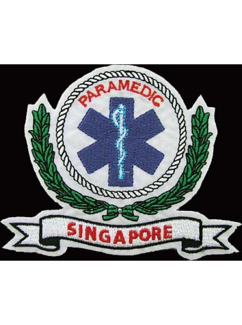 SINGAPORE PARAMEDIC IRON ON EMBROIDERED PATCH