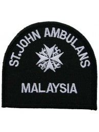 ST.JOHN MALAYSIA  BLK AMBULANCE EMBROIDERED PATCH