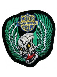 SKULL BIKER IRON ON EMBROIDERED PATCH #02