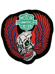 SKULL BIKER IRON ON EMBROIDERED PATCH #03