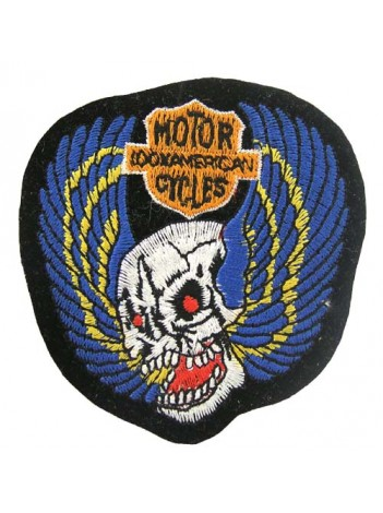 SKULL BIKER IRON ON EMBROIDERED PATCH #04