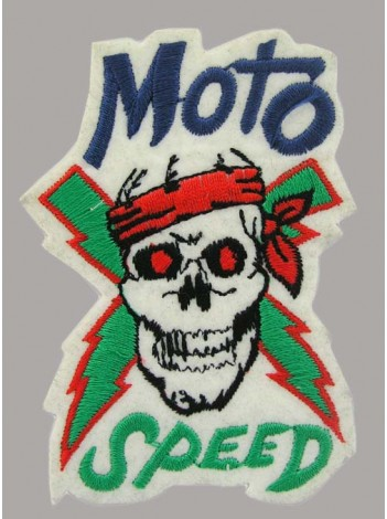 SKULL BIKER IRON ON EMBROIDERED PATCH #05