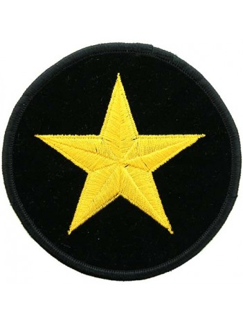 STAR ROUND IRON ON EMBROIDERED PATCH #01