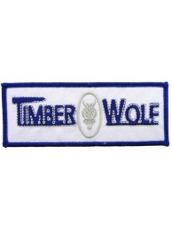 TIMBER WOLF FISHING IRON ON EMBROIDERED PATCH #01