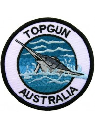 TOPGUN AUSTRALIA FISHING IRON ON EMBROIDERED PATCH