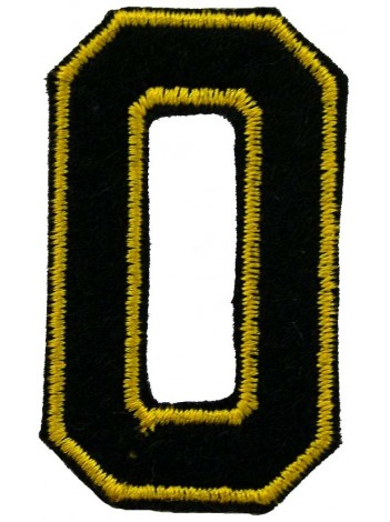 NUMBER 0 (ZERO) IRON ON EMBROIDEDRED PATCH