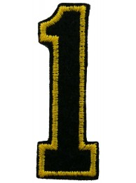 NUMBER 1 (ONE) IRON ON EMBROIDEDRED PATCH