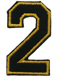 NUMBER 2 (TWO) IRON ON EMBROIDERED PATCH