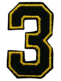 NUMBER 3 (THREE) IRON ON EMBROIDERED PATCH