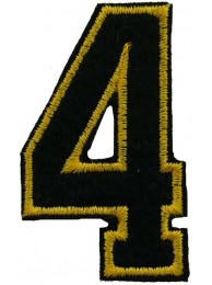 NUMBER 4 (FOUR) IRON ON EMBROIDERED PATCH