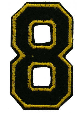 NUMBER 8 (EIGHT) IRON ON EMBROIDERED PATCH