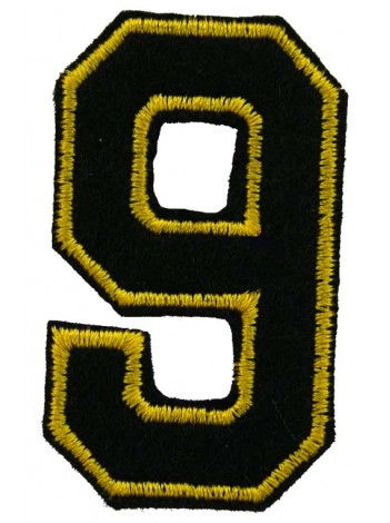 NUMBER 9 (NINE) IRON ON EMBROIDERED PATCH