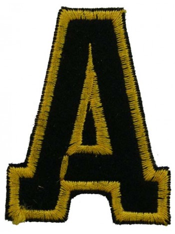ALPHABET (A) IRON ON EMBROIDERED PATCH
