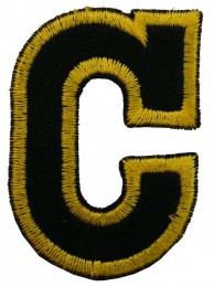 ALPHABET (C) IRON ON EMBROIDERED PATCH