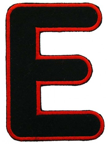 ALPHABET (E) IRON ON EMBROIDERED PATCH