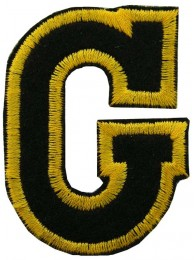 ALPHABET (G) IRON ON EMBROIDERED PATCH