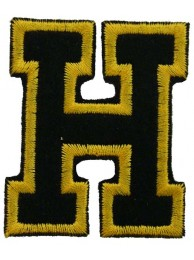ALPHABET (H) IRON ON EMBROIDERED PATCH