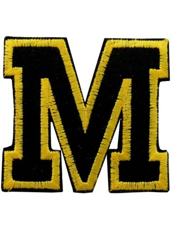 ALPHABET (M) IRON ON EMBROIDERED PATCH