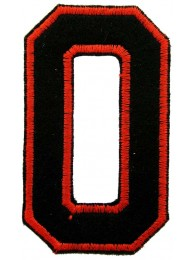 NUMBER 0(ZERO) IRON ON EMBROIDERED PATCH