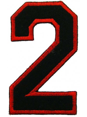 NUMBER 2(TWO) IRON ON EMBROIDERED PATCH