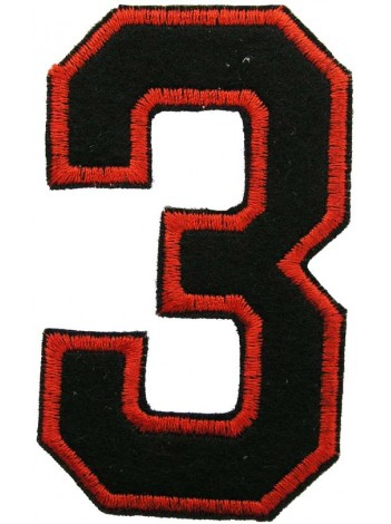NUMBER 3(THREE) IRON ON EMBROIDERED PATCH