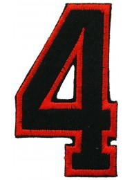 NUMBER 4(FOUR) IRON ON EMBROIDERED PATCH