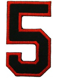 NUMBER 5(FIVE) IRON ON EMBROIDERED PATCH