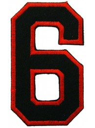 NUMBER 6(SIX) IRON ON EMBROIDERED PATCH