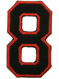 NUMBER 8(EIGHT) IRON ON EMBROIDERED PATCH