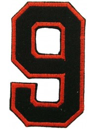 NUMBER 9(NINE) IRON ON EMBROIDERED PATCH
