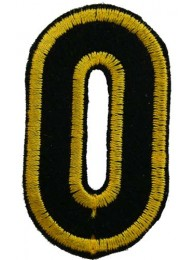 ALPHABET (O) IRON ON EMBROIDERED PATCH