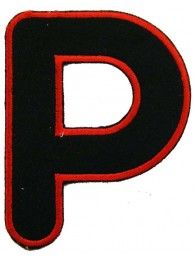 ALPHABET (P) IRON ON EMBROIDERED PATCH