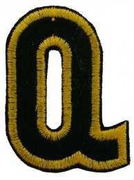ALPHABET (Q) IRON ON EMBROIDERED PATCH