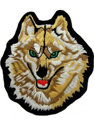 WOLF BIKER IRON ON EMBROIDERED PATCH #02
