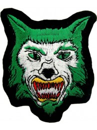 WOLF BIKER IRON ON EMBROIDERED PATCH #08