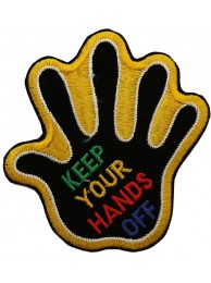 KEEP YOUR HAND OFF SIGN SKATE BOARD PATCH #02