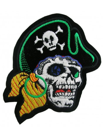 PIRATE SKULL PUNK & ROCK EMBROIDERED PATCH #04