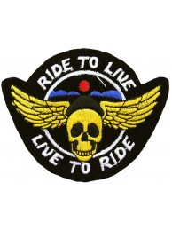 RIDE TO LIVE, LIVE TO RIDE BIKER SKULL PATCH #02