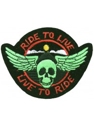 RIDE TO LIVE, LIVE TO RIDE BIKER SKULL PATCH #03