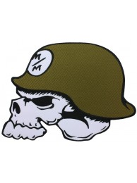 GIANT SKULL COMBAT HELMET EMBROIDERED PATCH (P)