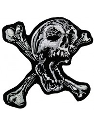 SKULL CROSSBONES PUNK & ROCK EMBROIDERED PATCH #08