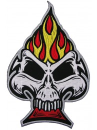 GIANT SKULL SPADE FLAME EMBROIDERED PATCH (P)