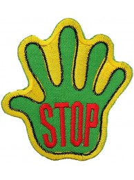 PALM HAND SHAPED STOP SIGN SKATE BOARD PATCH #05