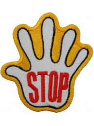 PALM HAND SHAPED STOP SIGN SKATE BOARD PATCH #08